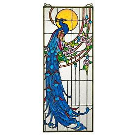 ステンドグラスのパネル - ピ−コック(孔雀)のサンセット ステンドグラスのウィンドウ・ハンギング ウィンドウ装飾 彫像/新築祝い(輸入品