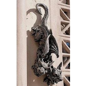 双頭のドラゴン・ガーゴイル彫像 壁掛け彫刻 ディスプレイ 彫刻 守護モンスター オーナメント 壁装飾 (輸入品)