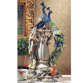 楽園の孔雀(ピーコック)美術彫刻 彫像/ トロピカル 新築お祝い 記念品 プレゼント 贈り物 化粧室 エステサロン ネイルサロン応接(輸入品