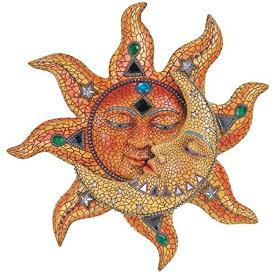 セール!特別価格!黄色いモザイクの太陽と月 インテリア彫像 彫刻 新築祝い 贈り物 プレゼントイラスト エスニック 応援グッズ/ Polyresin Orange Mosaic Face Sun with Yellow Mosaic Moon, 13(輸入品