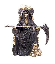 ブラック・ホーリー・デス スケルトン、座骨座に座っている恐ろしいグリム・リーパー(死神)フィギュア 彫刻 彫像(輸入品