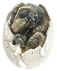 ティラノサウルス・レックスの卵 恐竜置物 孵化し、割れた卵から、顔を出す恐竜の赤ちゃん レプリカ 彫刻 彫像 中生代白亜紀末期 北アメリカ大陸 肉食恐竜 ジュラシック・パーク(輸入品