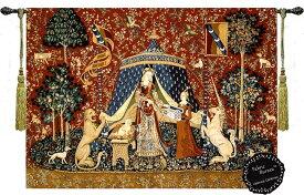 「我が唯一つの望みに」貴婦人と一角獣(ユニコーン)の中世アートジャガード織 壁掛けタペストリー;幅81cm×長さ66cm(輸入品