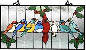 クロエ・ライティング製 ティファニーグラス 仲良く集まる小鳥たち インコ ステンドグラス アートガラス パネル タテ約32cm×ヨコ 約62cm