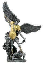 ゴールド&ピューター色 悪魔を踏む大天使ミカエル 守護天使エンジェル彫像 彫刻/ カトリック教会 祭壇 聖霊 福音 洗礼 贈り物(輸入品)