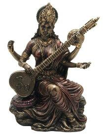 弁才天(弁財天)彫像 知識と音楽、芸術の女神 サラスヴァティー 芸能の神 芸事 贈り物 プレゼント/Saraswati - Hindu Goddess of Knowledge, Music & Art[輸入品