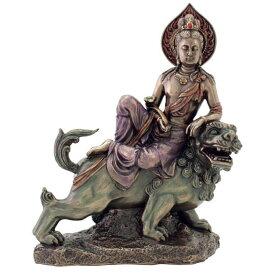 獅子に乗る智慧を司る仏 文殊菩薩 仏教彫像 置物 ブロンズ風フィギュア彫刻 ヴェロネーゼ製/大乗仏教 慈母供養の象徴 文殊師利 妙吉祥菩薩(輸入品