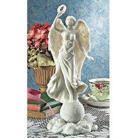 花輪を捧げ持つ平和の天使 大理石風 彫像 プレゼント 贈り物 書斎 インテリア エンゼル 誕生祝い アート美術品 / Angel of Peace Bonded Natural Marble Statue(輸入品