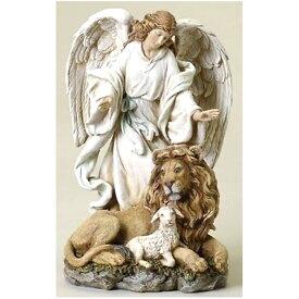 エンジェルコレクション ヨセフ・スタジオ製 ローマン特製 ライオンと子羊と天使の置物 高さ 約24cm プレゼント 贈り物 彫像 彫刻 カトリック教会 祭壇 福音 聖書(輸入品