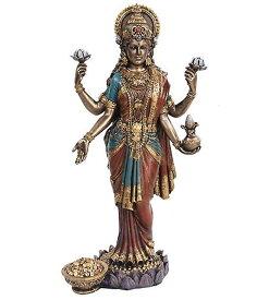 吉祥天 高さ約25cm ラクシュミー インド神話 ヒンドゥー教女神 置物 彫刻 彫像 功徳天 宝蔵天 財宝金銭 五穀豊穣 商売繁盛 天下泰平 家内安全/ Lakshmi Mythological Goddess Statue(輸入品)