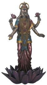 高さ 約24cm (吉祥天) 立っている ラクシュミー神 多色塗り 彫像 彫刻 功徳天、宝蔵天女 繁栄・幸運 幸福・美・富を顕す神/ 9.5 Inch Standing Lakshmi Eastern Statue Figurine(輸入品)