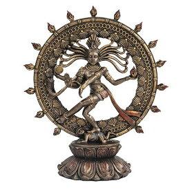 ヒンズー教 シヴァ神 ナトタジャダンス ブロンズ風 彫像 彫刻 アート美術品 最高神 破壊/再生 第三の目/Hindu Shiva Nataraja Dancing Statue Bronze Finished(輸入品)