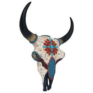 デザイン・トスカノ製 精霊の平原の戦士 模造の宝石に鏤められた、牛の頭蓋骨 壁彫刻、フルカラー 彫像 彫刻約42cm/カフェ 焼肉店 ジンギスカン店 パブ プレゼント(輸入品)