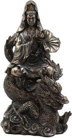 騎龍観音 龍頭観音、 天龍夜叉の身を表し、雲の中にいる龍上に在る観音様, 彫刻 彫像 原田直次郎 天龍夜叉 三十三観音の一尊(輸入品)