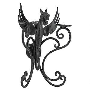 中世のドラゴンの燭台 西洋壁掛け キャンドルホルダー(輸入品)