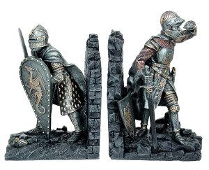 中世騎士のブックエンド 彫刻装飾 輝く甲冑装備(シャイニングアーマー) 芸術品オブジェ アクセント装飾 彫像(輸入品)十字軍 重装騎兵 アーサー王と円卓の騎士