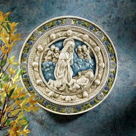 中世ゴシック調 聖母マリアとキリスト 彫像 壁掛けレリーフ 円盤インテリア/ カトリック教会 洗礼 福音 壁装飾 プレゼント 贈り物(輸入品