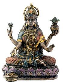 ブロンズ風 蓮の上に座る 吉祥天(ラクシュミー)富 豊穣 叡智 幸運の女神 彫刻 彫像/功徳天、宝蔵天女、美と豊穣と幸運を司る 財宝金銭、五穀豊穣、商売繁盛、天下泰平、家内安全/Lakshmi On Lotus Hinduism Display Statue[輸入品