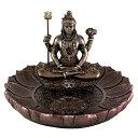 蓮に座るシヴァ神 お香立て(香炉)ブロンズ風 彫像/ ヒンドゥー教 世界の創造、維持、再生を司る最高神輸入品/アロマ…
