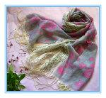 高級素材パシュミナストール可愛い綺麗な春の色美しい青い竹