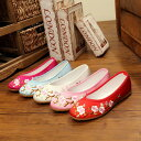 チャイナドレス用刺繍靴 北京布靴 レディースシューズ 刺繍靴 婦人靴 中国風ボタン 民族風 カジュアル シューズ 太極拳 通気性 ブーツ 綿麻靴 チャイナ靴 手作り 北京布靴 シルクタッチ素材 梅柄 痛くない 歩きやすい