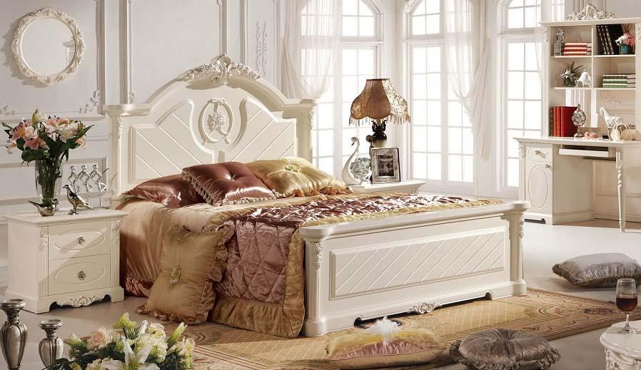 (1800×2000mm以下マットレス対応)プリンセス・お姫様・姫系彫刻付高級ベッド(マットレスなし)1800mm
