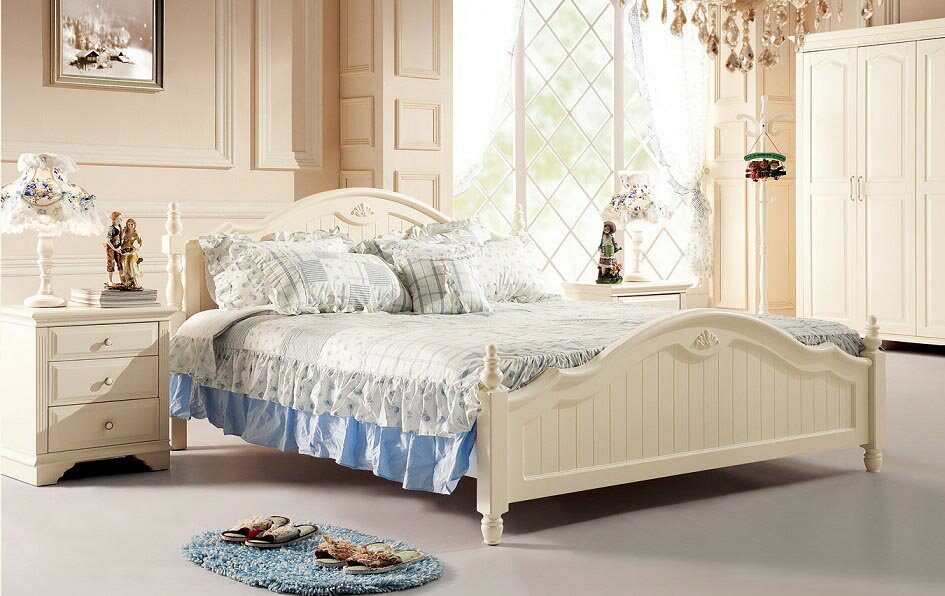 (1500×1900mm以下マットレス対応)お姫様系ホワイトシリーズベッド