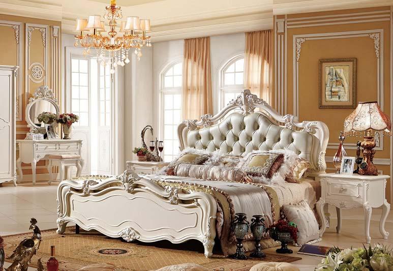 (1800×2000mm以下マットレス対応)プリンセス・お姫様・姫系彫刻付高級ベッド(マットレスなし)