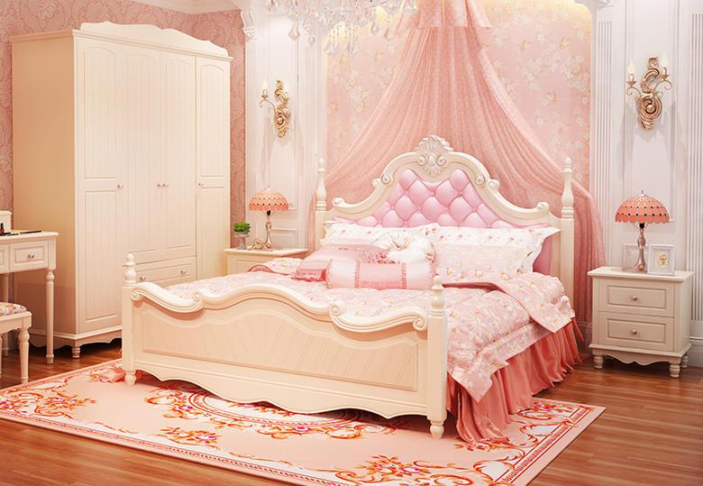 【ダブル−ワイドダブルサイズ】プリンセス・お姫様・姫系彫刻付高級ベッド(マットレスなし)
