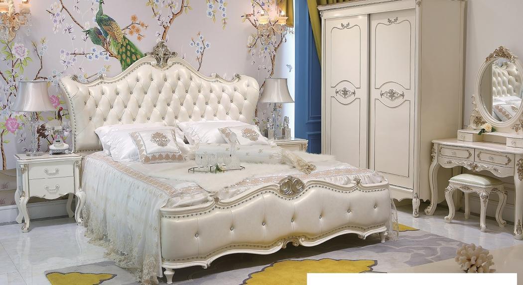 プリンセス・お姫様・姫系彫刻付高級ベッド(マットレスなし)