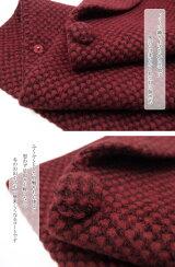 和装レンタルコート貸衣装防寒女性日本製へちま衿ロング丈羊毛アンゴラ混カジュアルドット臙脂全国往復送料無料フリーサイズco0104r