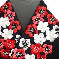 振袖用半衿半襟日本製梅詰め振袖刺繍半襟黒新品h706r