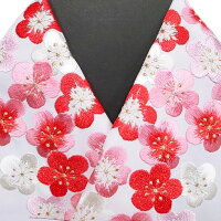 振袖用半衿半襟日本製梅詰め振袖刺繍半襟白赤ピンク新品h707r