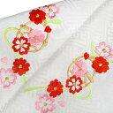 七五三 和装小物 半衿 三歳 五歳 七歳 女の子 新品 七五三 可愛らしい桜に鈴 刺繍半衿 白 g810r