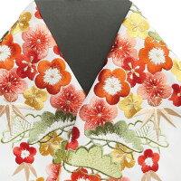 振袖用半衿半襟日本製松竹梅振袖刺繍半襟白色新品g915r