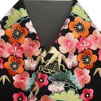 振袖用半衿半襟日本製松竹梅振袖刺繍半襟黒色新品g916r