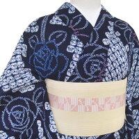 浴衣仕立て上がりレディース有松鳴海絞り総絞りカジュアル薔薇藍桜色青b320