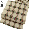 名古屋帯夏仕立て上がり本麻絣先染め格子生成り緑朱赤八寸帯カジュアルa428