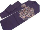 名古屋帯岡重京友禅正絹五泉駒塩瀬染帯仕立て上がり更紗柄紫九寸帯カジュアルd549