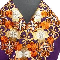 振袖用半衿半襟日本製桜鹿の子振袖刺繍半襟紫色新品g952r