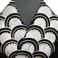 振袖用半衿半襟日本製青海に菊振袖刺繍半襟黒色新品g957r