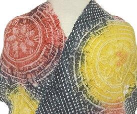 浴衣 反物 有松鳴海絞り 総絞り レディース 新品 仕立て付き 花柄 丸 墨黒 赤 黄色 カジュアル a058