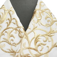 振袖用半衿半襟日本製唐草振袖刺繍半襟白色新品g958r