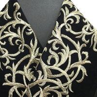 振袖用半衿半襟日本製唐草振袖刺繍半襟黒色新品g959r