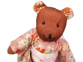 ぬいぐるみ 人形 くま 和柄 ちりめん 抱き人形 着物 手足可動 ピンク プレゼント おみやげ k963r