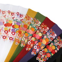 半衿振袖刺繍日本製菊に松半襟金茶抹茶臙脂紫黒金k769r