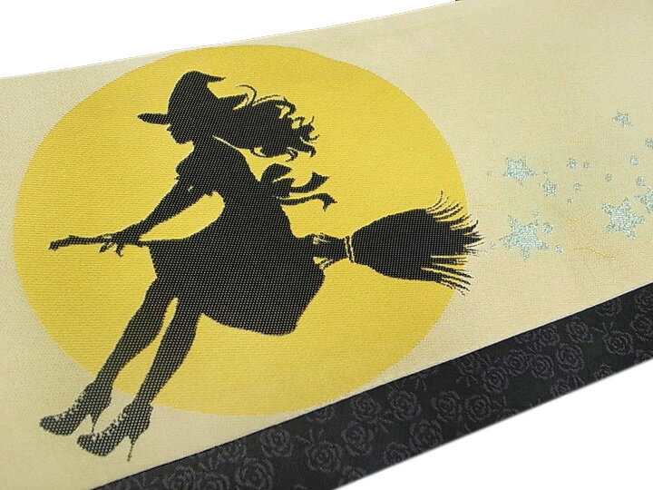 半幅帯 ハロウィン 魔女 バラ リバーシブル おりびと 明るめのベージュ系 金茶 空色 黒 紫 f582r