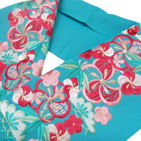 半衿半襟正絹刺繍藤の花白b982