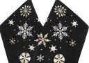 半衿 刺繍 洗える半衿 半襟 雪花 雪の結晶 東洋紡の生地 クリスマス カジュアル 黒 j791
