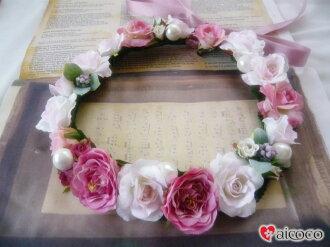 高級的人造花美人很好看的花冠atifisharufurawadoresu花冠新娘花冠婚禮花冠